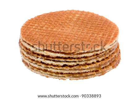 object on white - food waffles with caramel