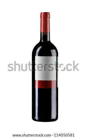 object on white - isolated wine bottle