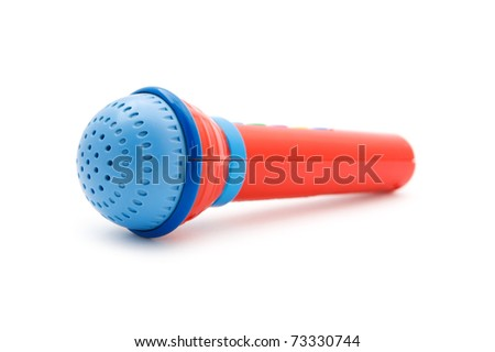 object on white - toy microphone close up