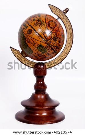Object with a rotating Ancient World, on a white background - stock photo