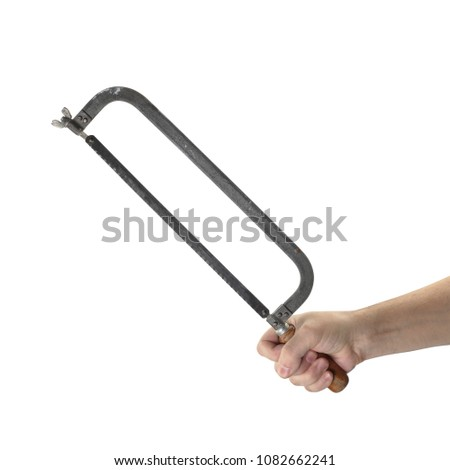 Objects hands action - Hand saw Hacksaw worker hand isolated white background.