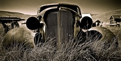 Objects in various stages of decay and aging, abandoned and forgotten - vintage Chevy.
