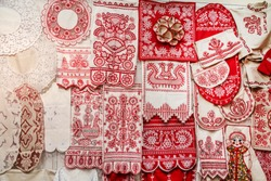 Objects of Russian folk art and crafts, embroidery, Arkhangelsk oblast, Russia