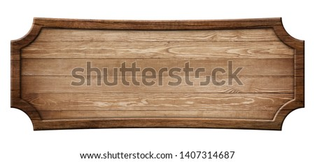 Oblong decorative wooden signboard made of natural wood and with Stockfoto ©