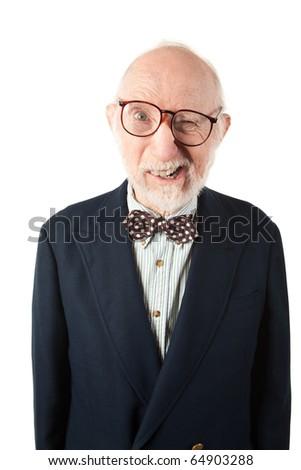 Obnoxious Senior Man with Bow Tie on White Background