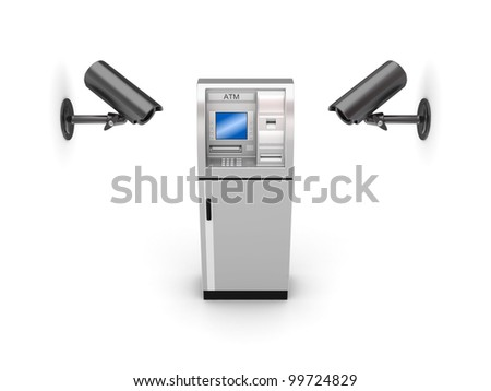 Observation cameras and ATM.Isolated on white background.3d rendered.