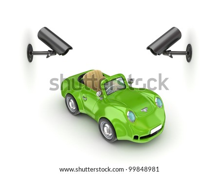 Observation cameras and green small car.Isolated on white background.3d rendered.