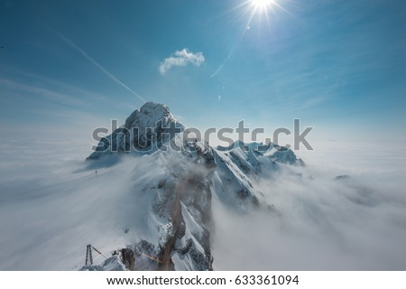 Observation deck at Dachstein/Hunerkogel mountain glacier in the Alps located at Steiermark, Austria. Image of the Stairway to Nothingness on the top of the Dachstein Mountain.  #633361094