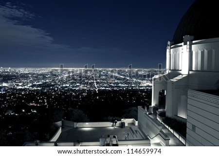 Observation Deck at Griffith Observatory, Los Angeles, California, USA. Los Angeles Scenic Night View. Architecture Photo Collection.