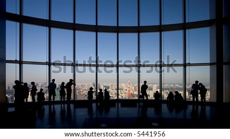 Observation deck in Tokyo with panorama views of the city.