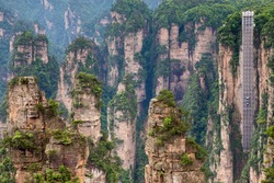 Observation elevator at mountain of Zhangjiajie national park, China