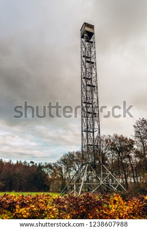 Observation tower built in 1885 at Boswachterij Dorst - Dorst (municipality Oosterhout) - North Brabant - Netherlands. The watchtower in the forest is locally known as 'Brandtoren' (lit.: fire tower)
