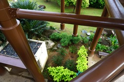 Observation Tower in special perspective look down shown some beautiful plants at Wetlands Park, Putrajaya, Malaysia