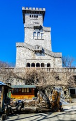 Observation tower in the medieval Romanesque style, on top of the mountain Akhun. Sochi, Russia