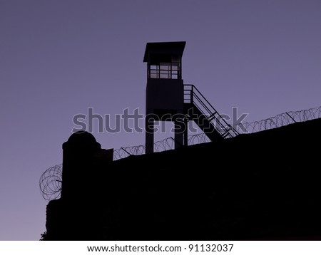 Observation tower silhouettes