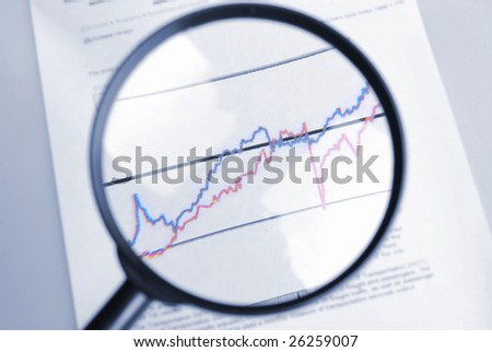 observe curve chart  through  magnifier