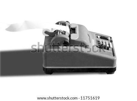 Obsolete adding machine in black and white