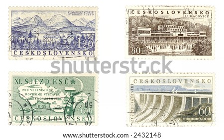 Obsolete postage stamps from Czechoslovakia showing communism concepts and landscapes