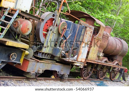 Obsolete 1920's steam locomotive in a siding at Bitton on the disused railway formerly linking Bristol and Bath UK