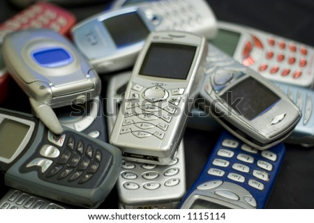 Obsolete technology. Unwanted mobile phones.