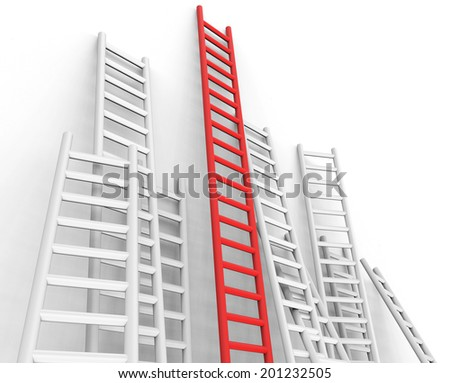Obstacle Ladders Indicating Conquering Adversity And Step