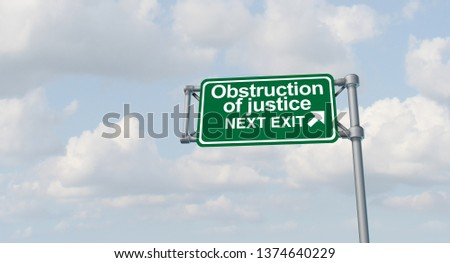 Obstruction of justice crime and obstructing the law as a United States jurisdiction criminal act symbol representing American legal and political system as a 3D illustration.
