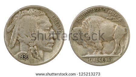 Obverse And Reverse Of A 1936 Indian Head Buffalo Five Cent Nickel Coin Isolated On White