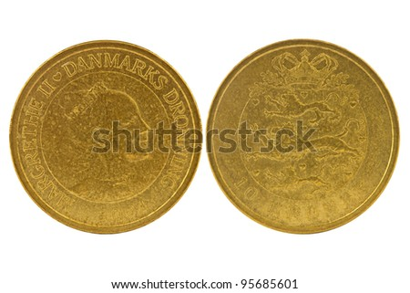 Obverse and reverse  of 10 Danish kroner. Isolated on white background