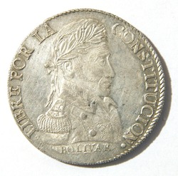 Obverse of a eight Soles coin of Bolivia with the face of Simon Bolivar, minted in Potosi in the year 1827