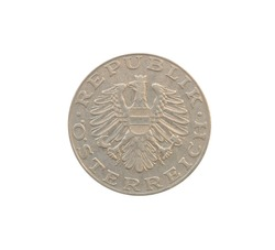 Obverse of 10 Schilling coin made by Austria, that shows Austrian escutcheon