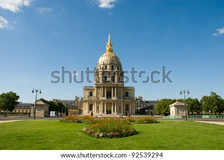 Obverse view of Les Invalides(The National Residence of the Invalids).It's a complex of museums and monuments in Paris,and the burial site for some of France's war heroes,notably Napoleon Bonaparte.