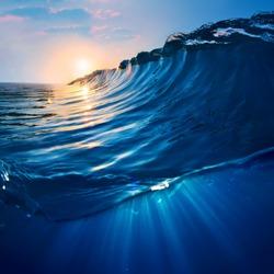 ocaen-view seascape landscape Big surfing ocean wave with beautiful sunset