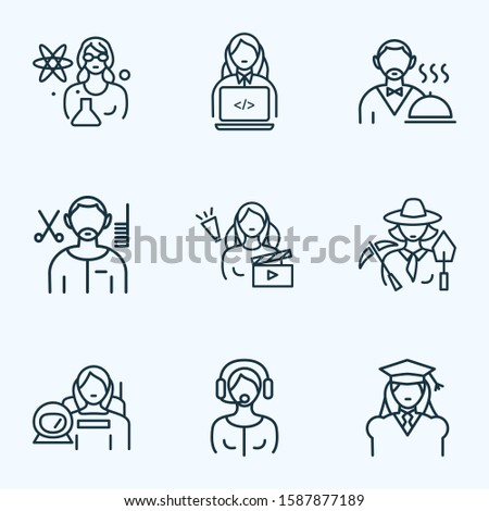 Occupation icons line style set with assistant woman, discovery, laboratory and other scientist woman elements. Isolated illustration occupation icons.