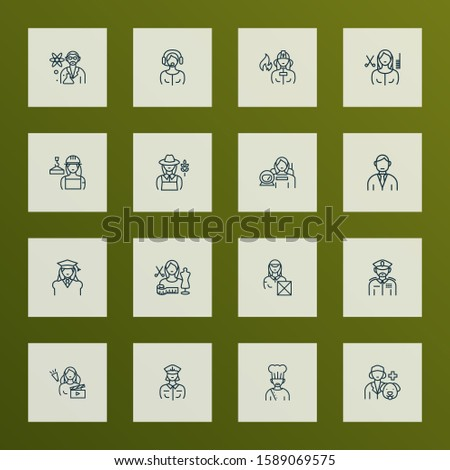 Occupation icons line style set with captain woman, military, hair stylist woman and other veterinarian woman elements. Isolated illustration occupation icons.