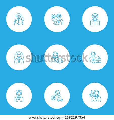 Occupation icons line style set with cashier, captain, priest woman and other sports woman elements. Isolated illustration occupation icons.