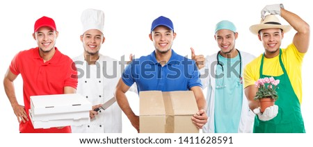 Occupations occupation education training profession doctor cook group of young people job isolated on a white background