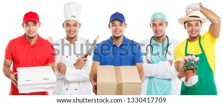 Occupations occupation education training profession doctor cook group of young people latin man job isolated on a white background #1330417709