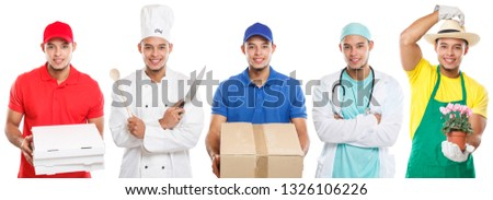 Occupations occupation education training profession doctor cook young latin man job isolated on a white background #1326106226