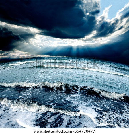 Ocean and sea storm.Cloudy sky and waves #564778477