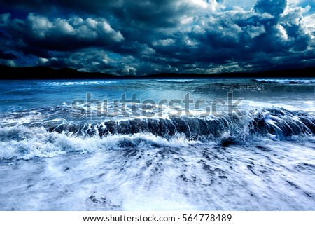 Ocean and sea storm.Cloudy sky and waves #564778489