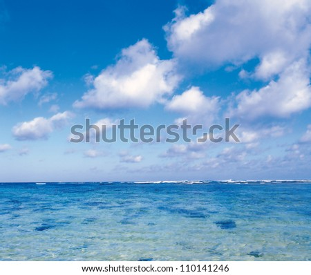 Ocean and sky with clouds