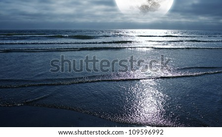Ocean and the Moon. Night on the Beach. Large Full Moon on the Horizon. Panoramic Photo. Nature Photography Collection.