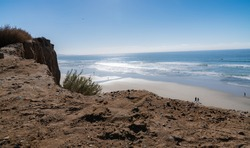 Ocean Beach Bluff Overlooking Sand and Waves