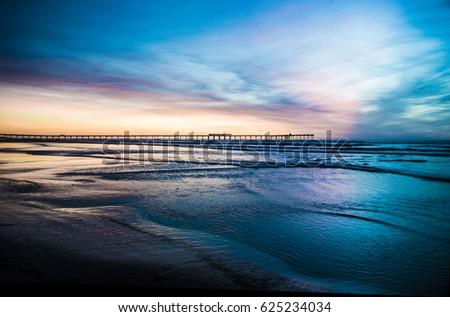 Ocean Beach Fishing Pier Sunset #625234034