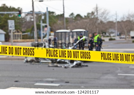 OCEAN CITY - DECEMBER 12: Scene of the car accident at Highway 1 Castal highway secured by Ocean City police Department on December 12 2012 Ocean police Department was created in 1898 - stock photo