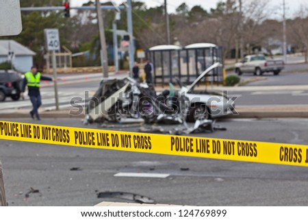 OCEAN CITY - DECEMBER 12: Scene of the car accident at Highway 1 Castal highway secured by Ocean City police Department on December 12 2012 Ocean police Department was created in 1898