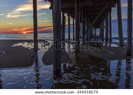 Ocean City, Maryland under the pier at dawn