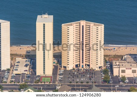 OCEAN CITY - SEPTEMBER 1: Aerial view of Ocean City Maryland on September 1 2012 Ocean City MD is one of the most popular beach resorts on the East Coast and considered one of the cleanest in country