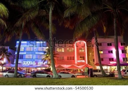 Ocean Drive, Hotels Art Deco Style at night, Miami Beach - stock photo