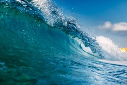 Ocean ideal wave in ocean. Breaking blue waves